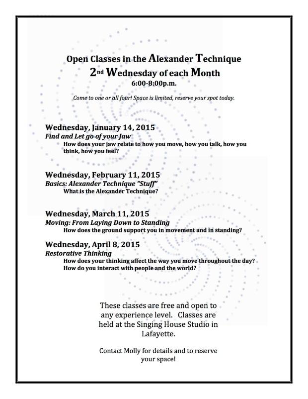 Open Classes in the Alexander Technique Spr. 2015